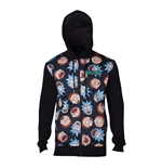 RICK AND MORTY Male Character Faces Pattern Sublimation Print Full Length Zipped Hoodie, Small, Black