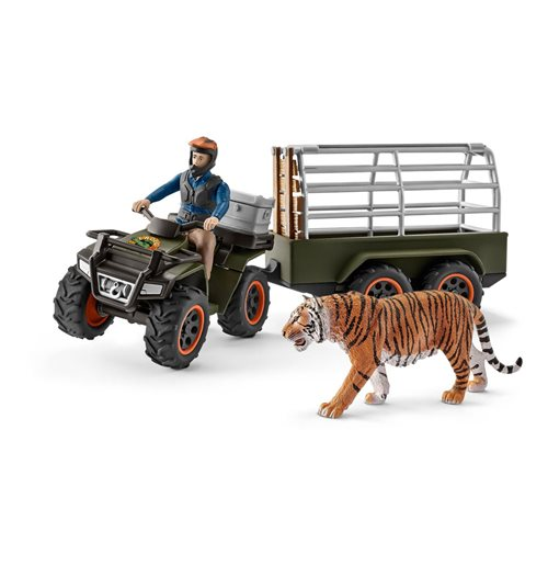 SCHLEICH Wild Life Jungle CROCO Quad Bike with Trailer and Ranger
