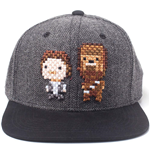 STAR WARS Embroidered Han Solo & Chewbacca Pixel Snapback Baseball Cap, Grey