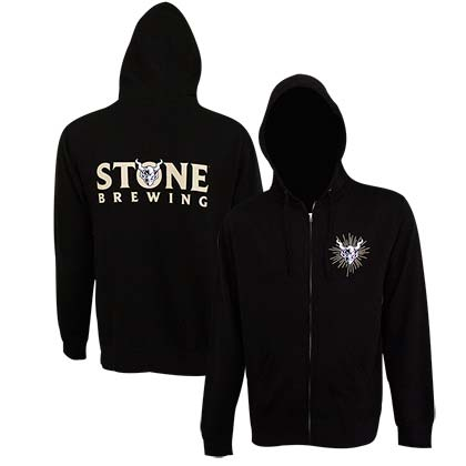 Stone Brewing Text Logo Black Men's Zip-Up Hoodie