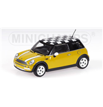 MINI ONE 2001 WITH CHEQUERED ROOF FLAG YELLOW