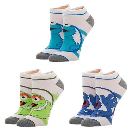 SESAME STREET Ankle Socks Women's 3 Pack Oscar Grouch Cookie Monster Grover