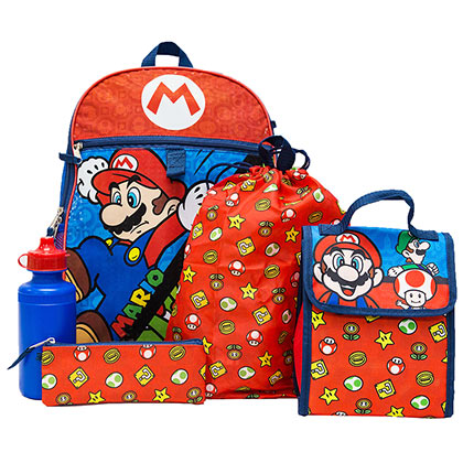 Super MARIO Bros. 5 Piece Backpack Travel Kids Set