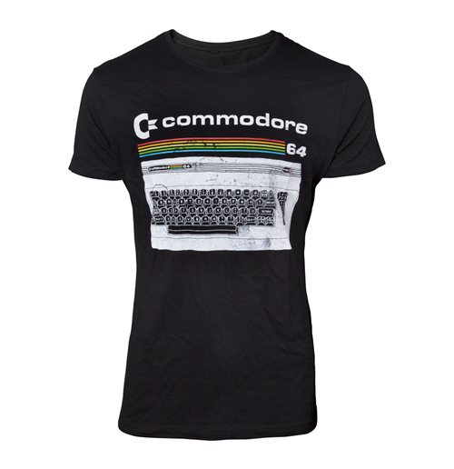 COMMODORE 64 Male Classic Keyboard T-Shirt, Medium, Black