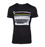 COMMODORE 64 Male Classic Keyboard T-Shirt, Small, Black