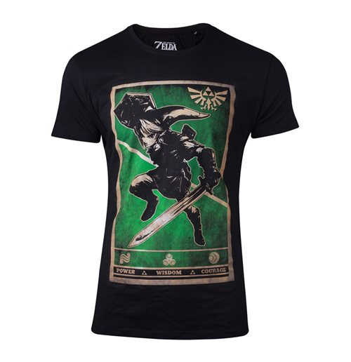 NINTENDO Legend of Zelda Male Propaganda Link Triforce Poster T-Shirt, Small, Black