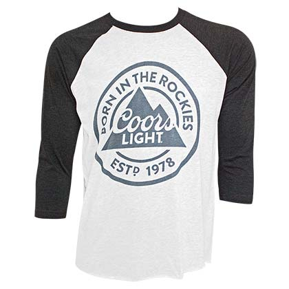 2a3275f91a79d4 Buy Official COORS Light Born In The Rockies Men s Raglan Gray TShirt