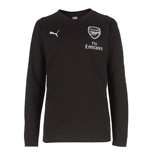 2018-2019 Arsenal Puma Casual Performance Sweat Top (Black) - Kids