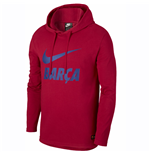 2018-2019 Barcelona Nike Core Hooded Top (Red)