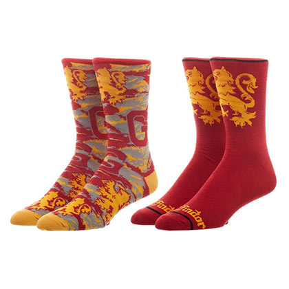 HARRY POTTER Gryffindor Red Men's Crew Sock Set Of 2 Pairs