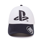 SONY Playstation Logo Curved Bill Cap, White/Black