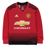 2018-2019 Man Utd Adidas Home Long Sleeve Shirt (Kids)