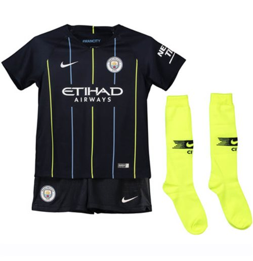 new product a754c 0643a 2018-2019 Man City Away Nike Little Boys Mini Kit