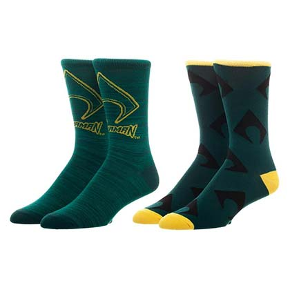 AQUAMAN Green Men's Crew Socks Set Of 2