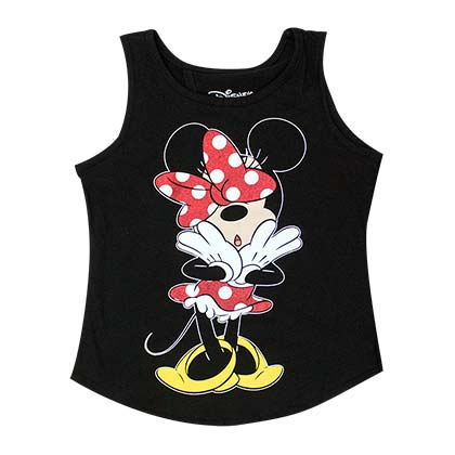 DISNEY Minnie Mouse Open Back Youth Girls 7-16 Black Tank Top