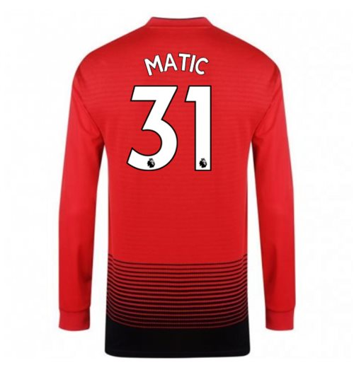 2018-2019 Man Utd Adidas Home Long Sleeve Shirt (Matic 31) - Kids