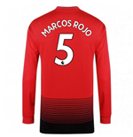 2018-2019 Man Utd Adidas Home Long Sleeve Shirt (Marcos Rojo 5) - Kids