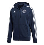 2018-2019 Man Utd Adidas 3S Hooded Zip (Navy)