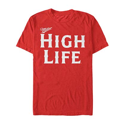 MILLER HIGH LIFE Beer Text Logo Men's Red TShirt
