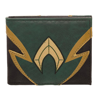 AQUAMAN Superhero Chrome Weld Patch Green Black Wallet