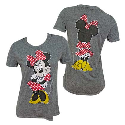 DISNEY Minnie Mouse Front Back Print Women's Grey TShirt