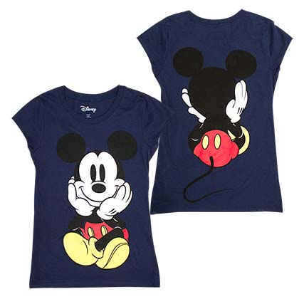 Mickey Mouse Front And Back Women's Blue Tee Shirt