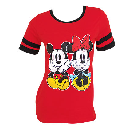 Mickey And Minnie Women's Red Jersey TShirt