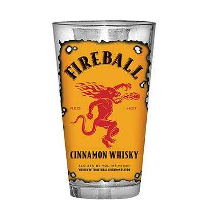 Fireball Whisky Burnt Label Drinking Pint Glass