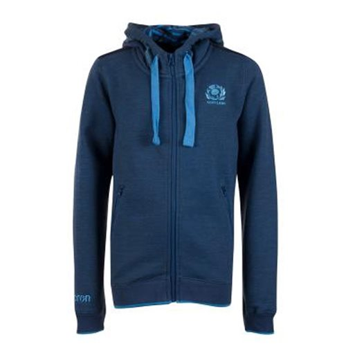 2018-2019 Scotland Macron Rugby Heavy Cotton Full Zip Hoody (Blue) - Kids