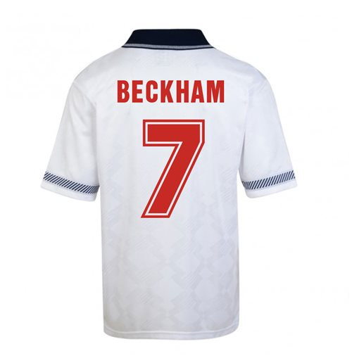 Score Draw England World Cup 1990 Home Shirt (Beckham 7)