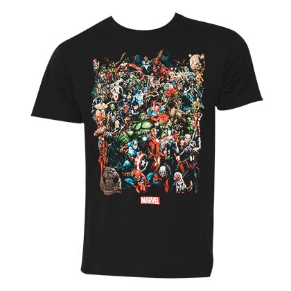 Marvel Universe Characters Men's Black T Shirt