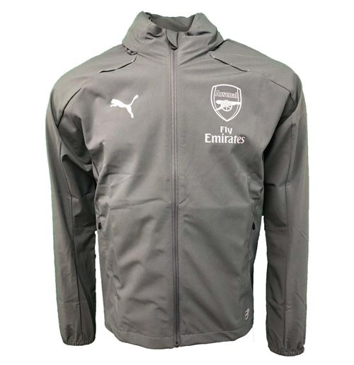 2018-2019 Arsenal Puma Hooded Rain Top (Iron Gate)