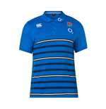 2018-2019 England Rugby Cotton Stripe Polo Shirt (Blue)