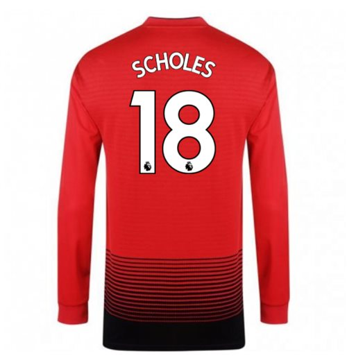2018-2019 Man Utd Adidas Home Long Sleeve Shirt (Scholes 18) - Kids