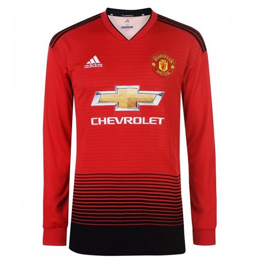 2018-2019 Man Utd Adidas Home Long Sleeve Shirt
