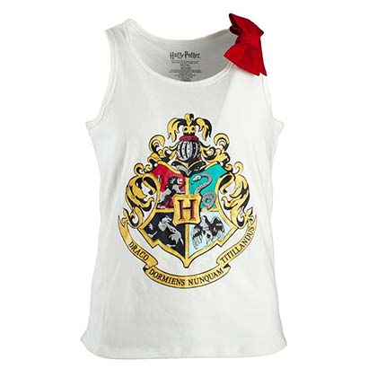 HARRY POTTER Hogwarts Crest Girls Youth 7-16 White Tank Top Shirt