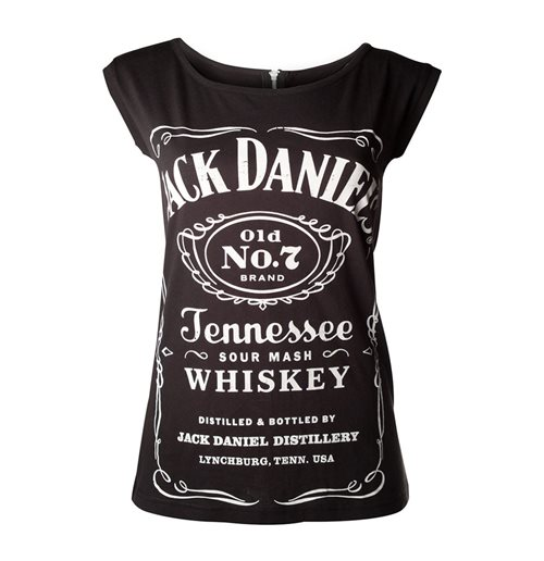 JACK DANIEL'S Old No.7 Brand Shirt with Back Zipper, Female, Large, Black