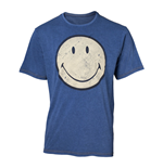 SMILEY Original Smiley Logo Faux Denim T-Shirt, Male, Medium, Blue