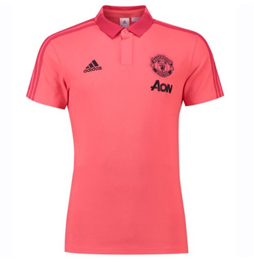 new concept 4a68a b01db 2018-2019 Man Utd Adidas Training Polo Shirt (Pink)