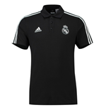 2018-2019 Real Madrid Adidas 3S Polo Shirt (Black)