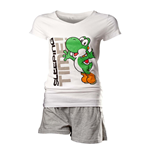 NINTENDO Super Mario Bros. Yoshi Shortama Nightwear Set, Female, Large, White/Grey