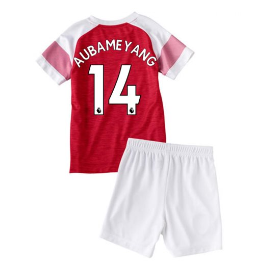 2018-2019 Arsenal Home Little Boys Mini Kit (Aubameyang 14)