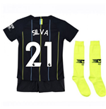 2018-2019 Man City Away Nike Little Boys Mini Kit (Silva 21)