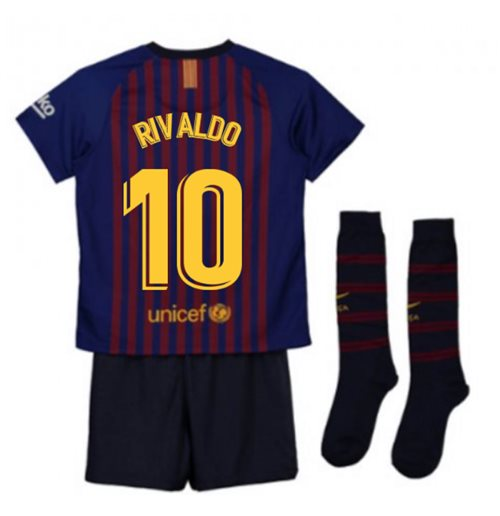 2018-2019 Barcelona Home Nike Little Boys Mini Kit (Rivaldo 10)