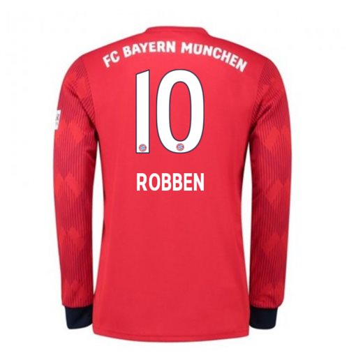 2018-2019 Bayern Munich Adidas Home Long Sleeve Shirt (Robben 10)