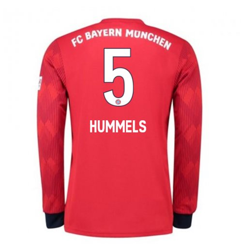 2018-2019 Bayern Munich Adidas Home Long Sleeve Shirt (Hummels 5)
