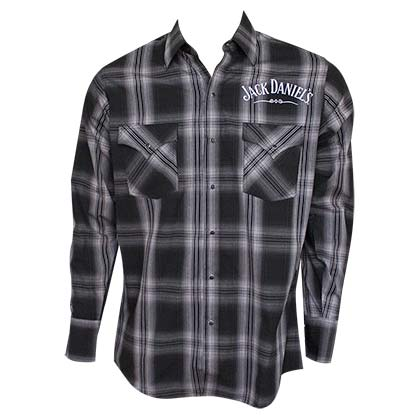 JACK DANIELS Long Sleeve Black Plaid Button Up Shirt
