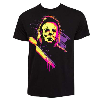 HALLOWEEN Michael Myers Neon Men's Black Tee Shirt