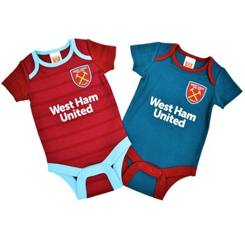 West Ham United F.C. 2 Pack Bodysuit 0/3 mths