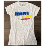 Little Mix Ladies Tee: Logo Blue/Yellow/Pink (Ex Tour)